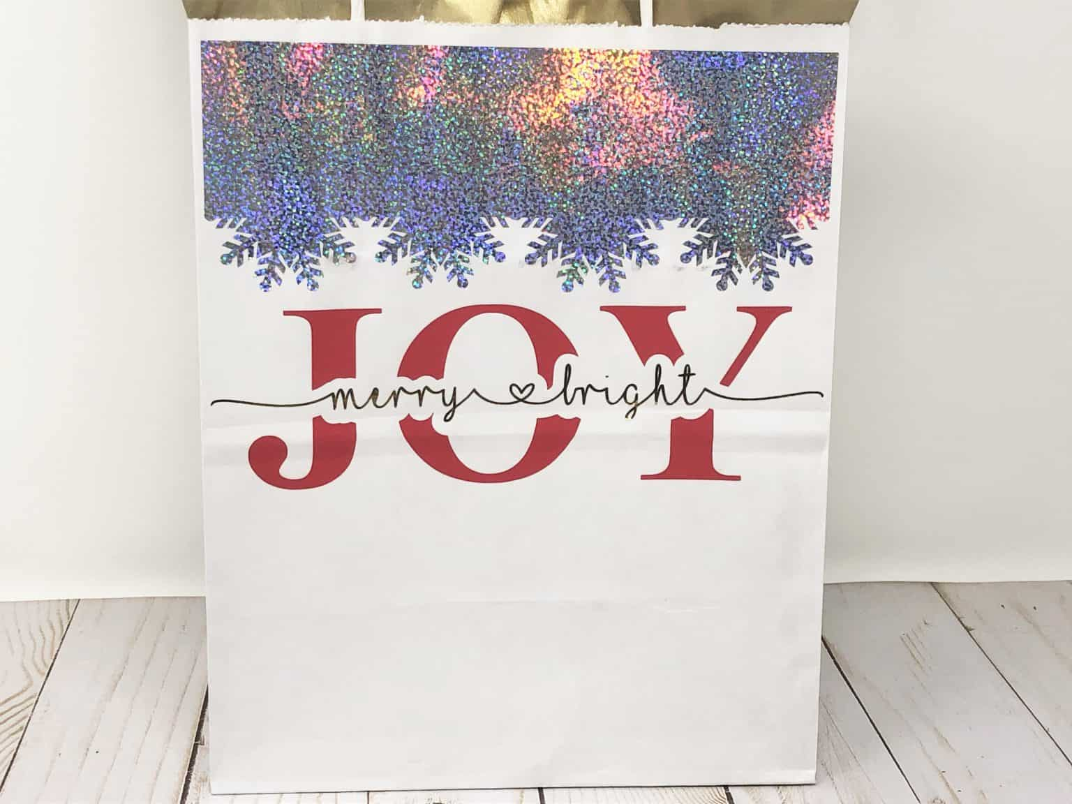 Joy with Merry & Bright Gift Bag using an offset to make a knockout image.