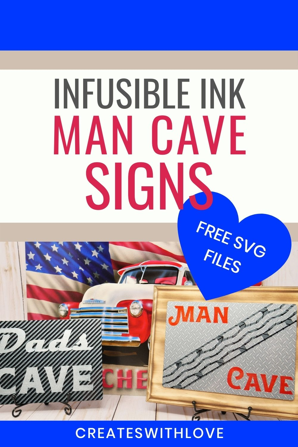 Infusible Ink Man Cave Signs.  One says Dad's Cave and the other sign says Man Cave.