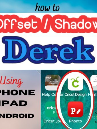 how to offset text using Phonto App to upload to Cricut Design Space
