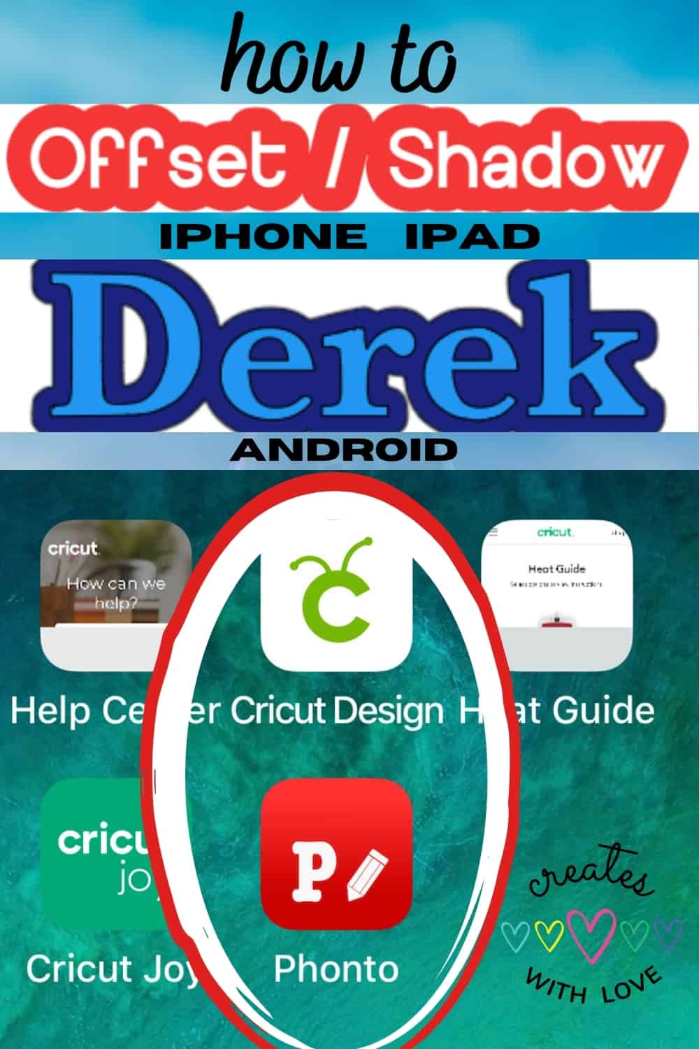 Step by Step Tutorial on how to easily offset text using the Phonto app to upload to Cricut Design Space