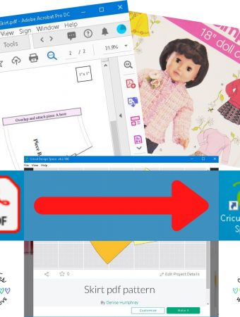 a PDF icon with an arrow pointing to a Cricut Design Space icon with a PDF Doll pattern