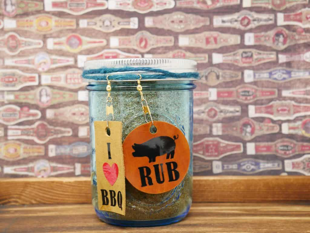 Pork Rub in jar with tag