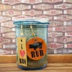 Pork Rib Rub in jar with tag