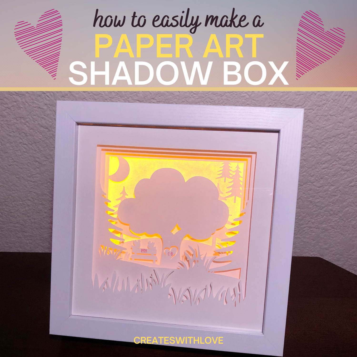 Shadow Box Paper Art in a frame with lights.  Great for Anniversary gifts.