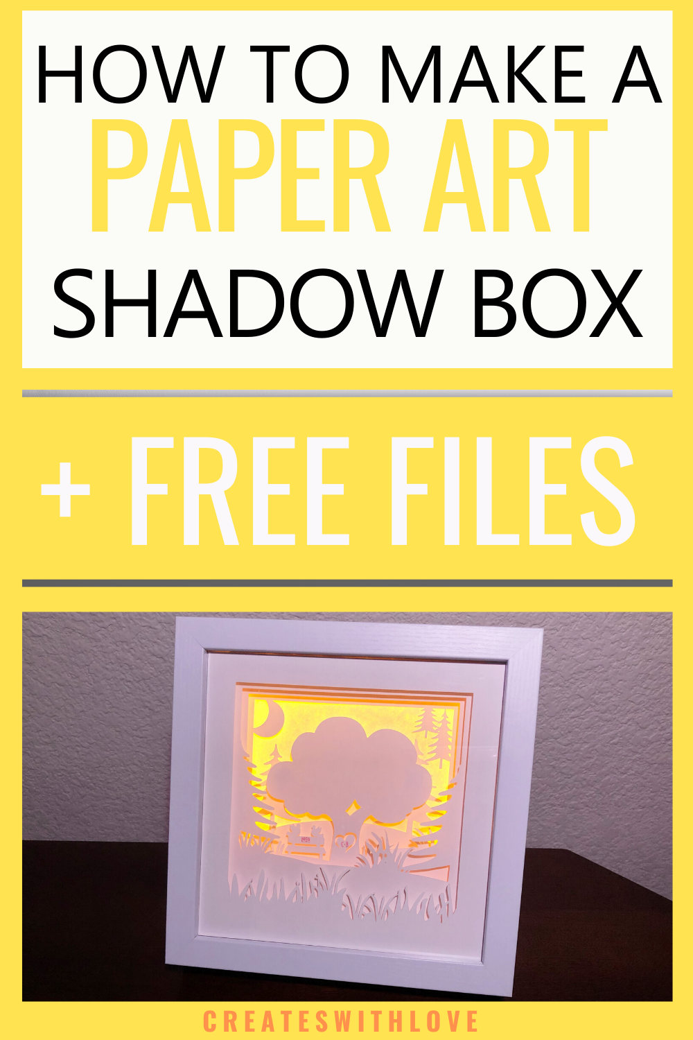 A layered Shadow Box Paper Art Project all lite up with LED Light strips and white card stock.