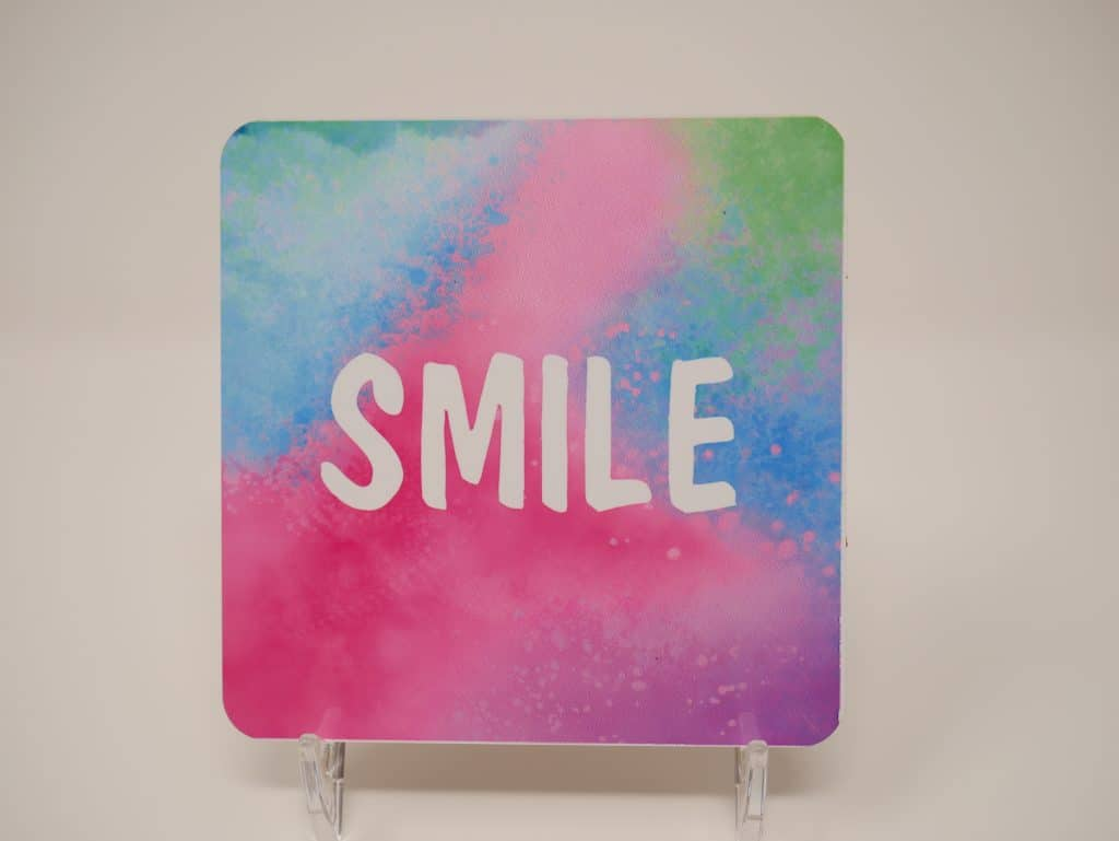 coaster with smile