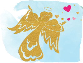 Gold Angel over aerial of ocean and a few pink and gold hearts