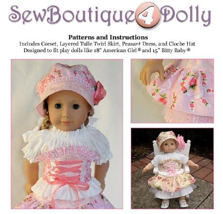 a Doll sewing pattern with a skirt, dress and corset and hat