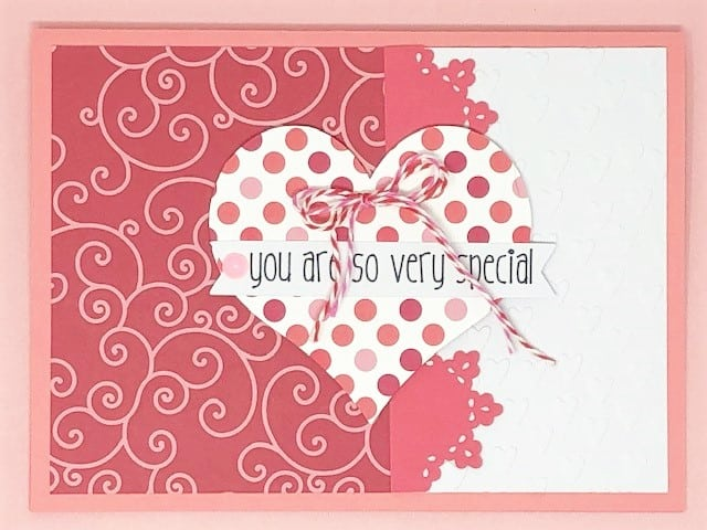 so very special card in pretty pinks and twine and patterned paper