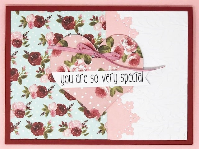 you are so very special card done in the theme of roses on the papers and a pink ribbon