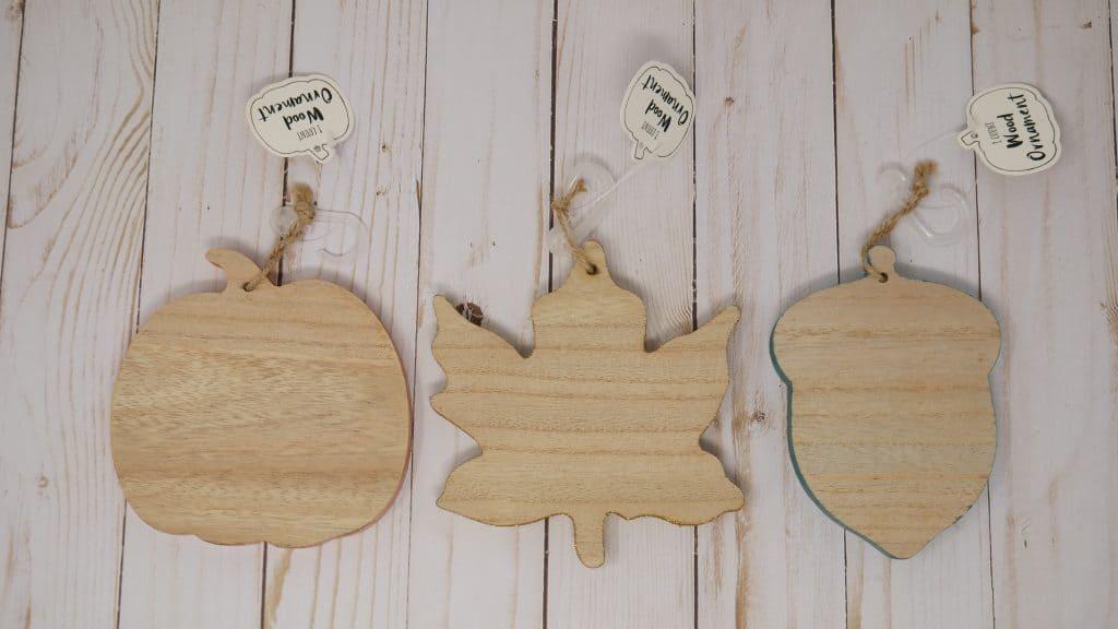 target dollar spot wooden shapes, pumpkin, leaf and acorn