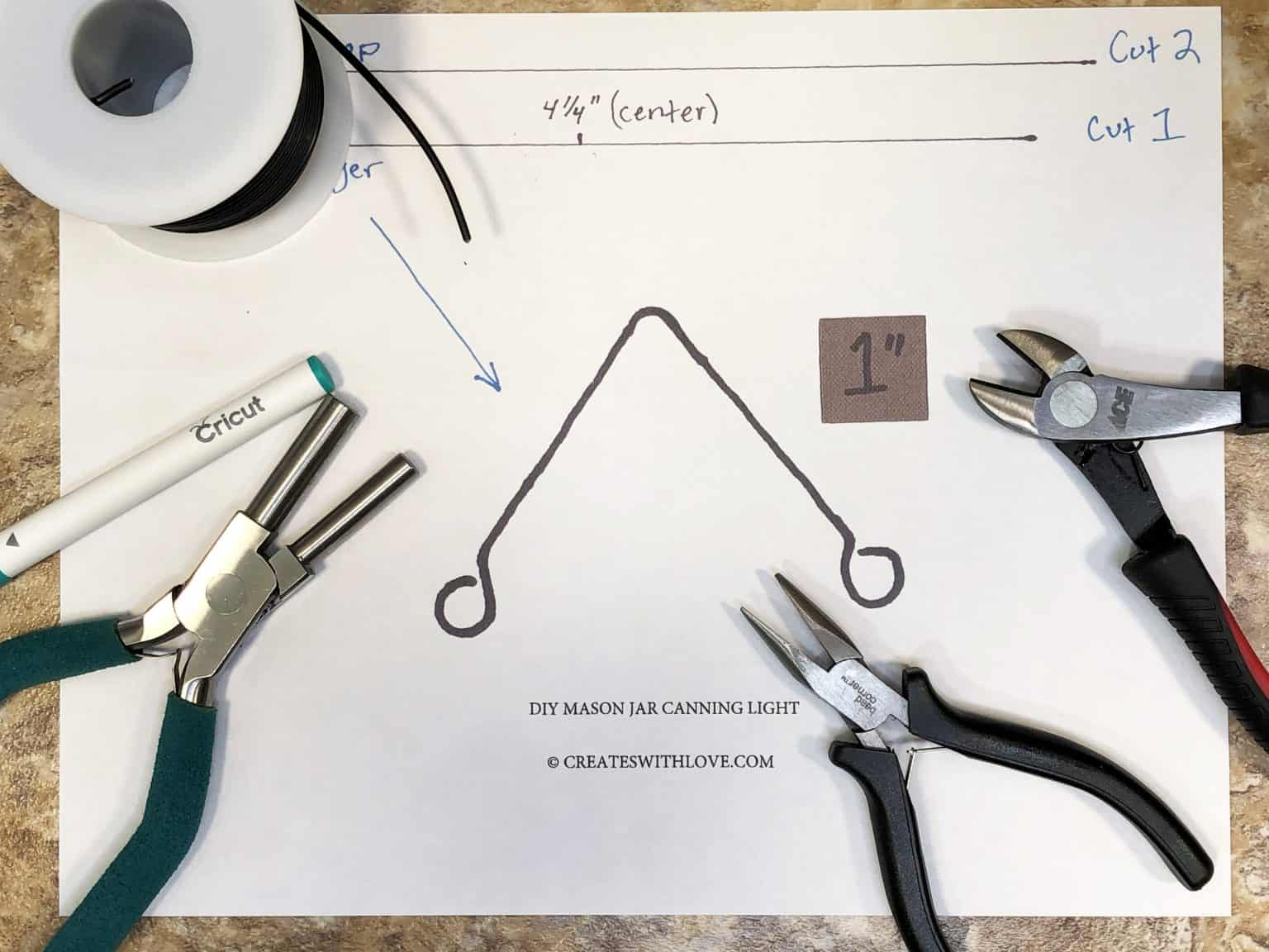 DIY Mason Jar Canning Light Free Wire Sizing Template and various tools used to cut and form wires.