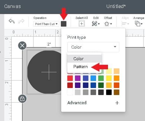 select pattern from drop down menu