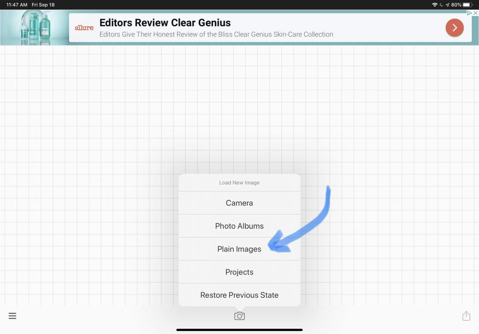 shows menu to select plain images