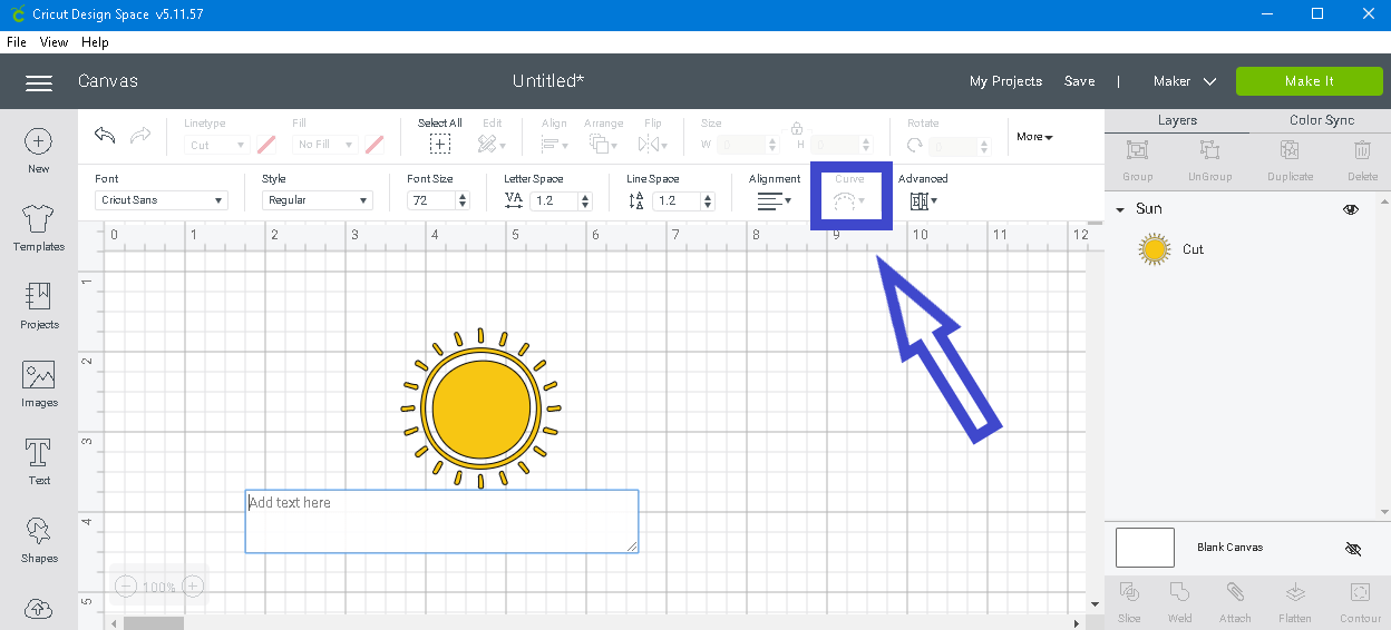 screen shot showing if you don't have any words or symbols typed in the text box the curve text tool is grayed out.
