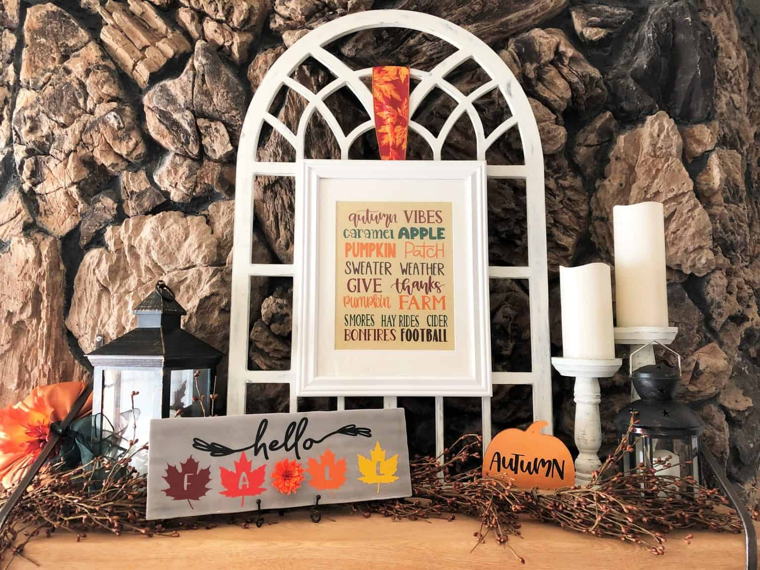 diy ceramic subway tile art on a fireplace mantle