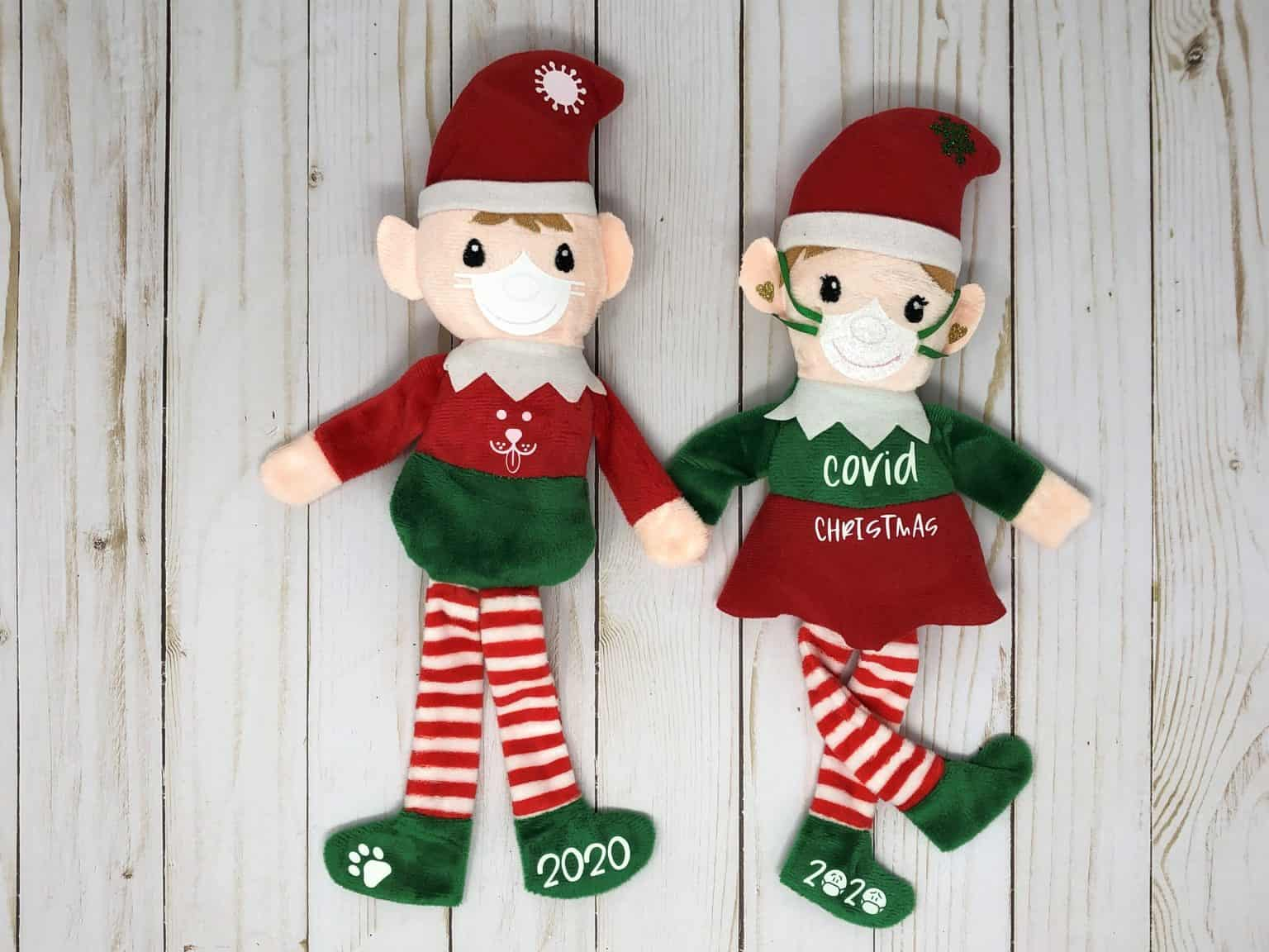 a covid christmas dollar tree elf and a fun one with a dog face and dog paw design