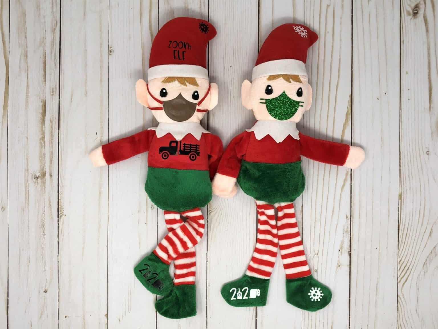 2 dollar tree elves with their masks on