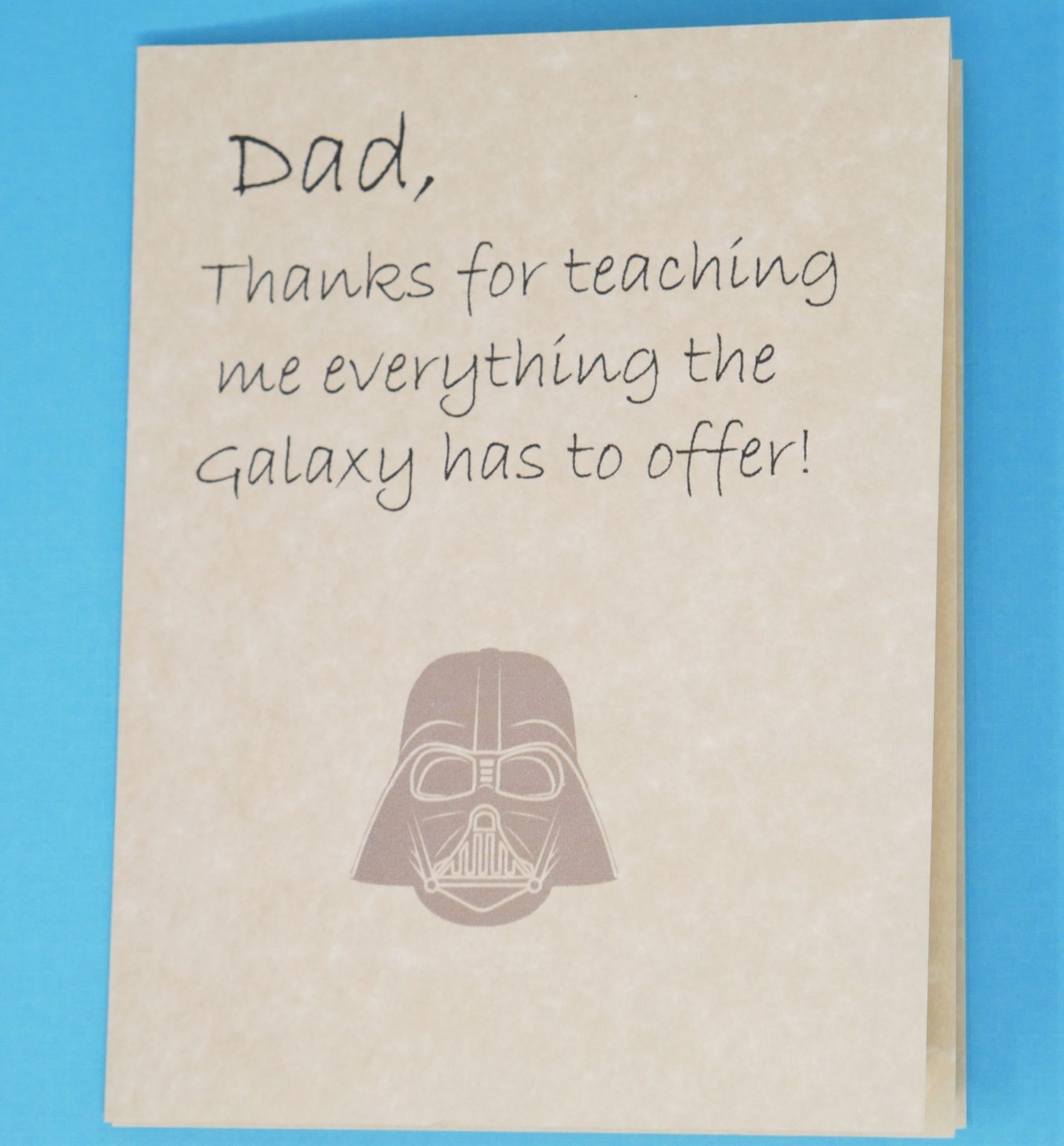 1 free printable fathers day card with a Galaxy theme.