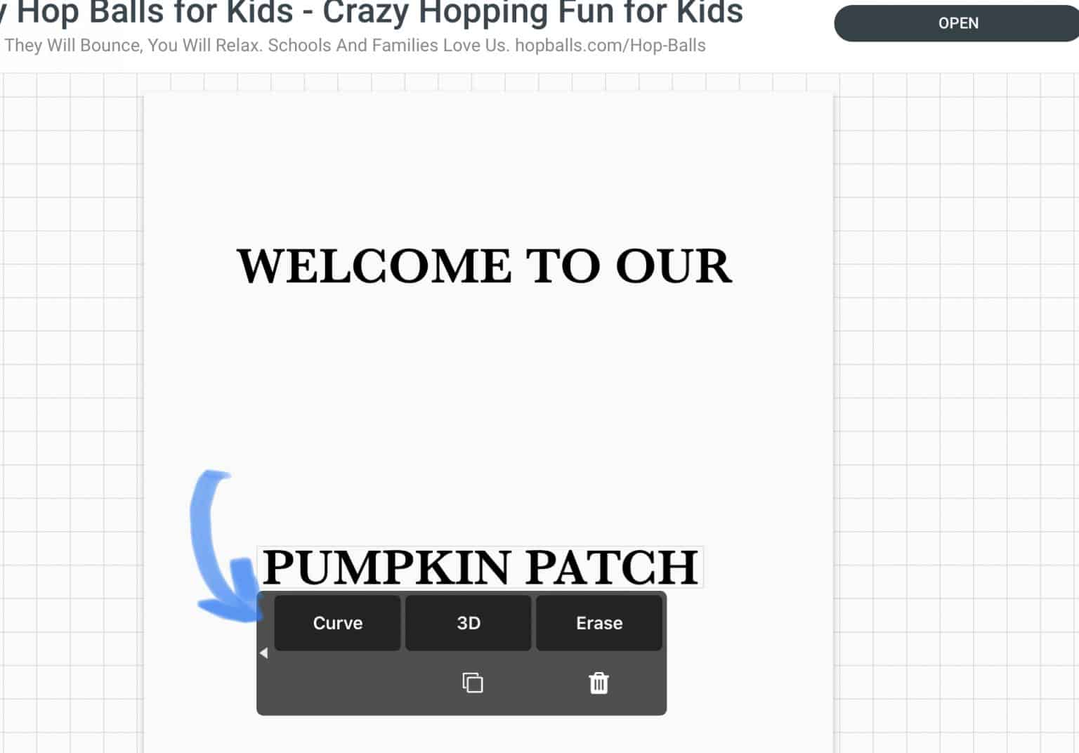 """added the words """"pumpkin patch"""""""