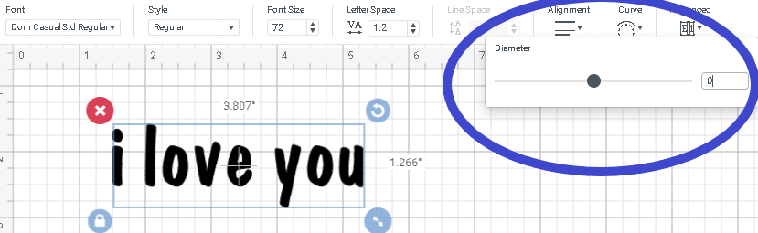 screen shot showing where the slider tool is to curve text.