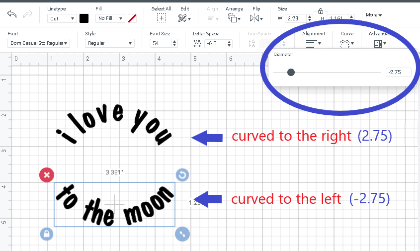 screen shot showing how to curve text in cricut design space