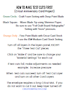 how to make test cuts first instructions available free in my resource library.