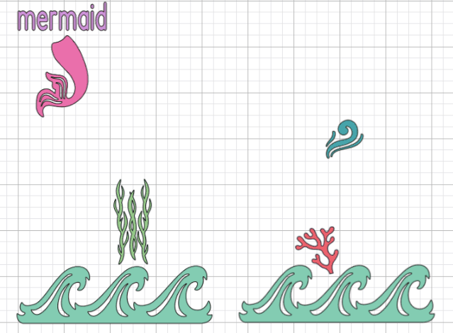 Picture of the Mermaid design in Cricut's Design Space Program.