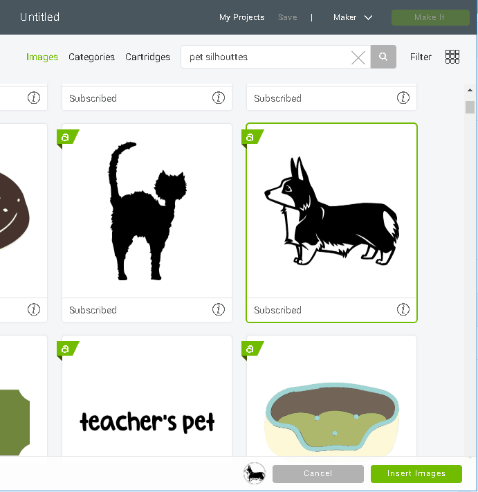 Search for images such as this Dog image which shows a cut file but you can easily change it to a draw image for any Cricut Drawing Project.