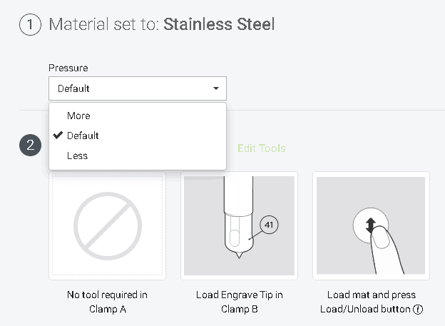 stainless steel setting now has an option to add more pressure for engraving