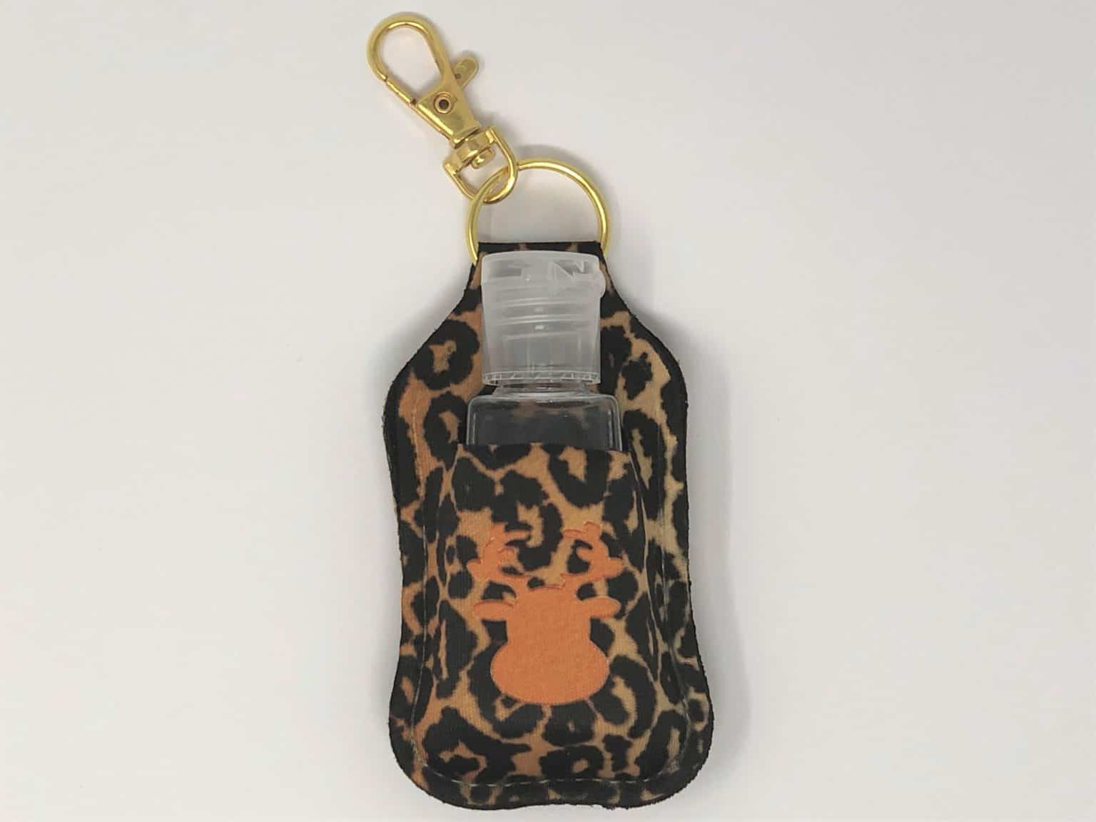 leopard print with reindeer hand sanitizer holder