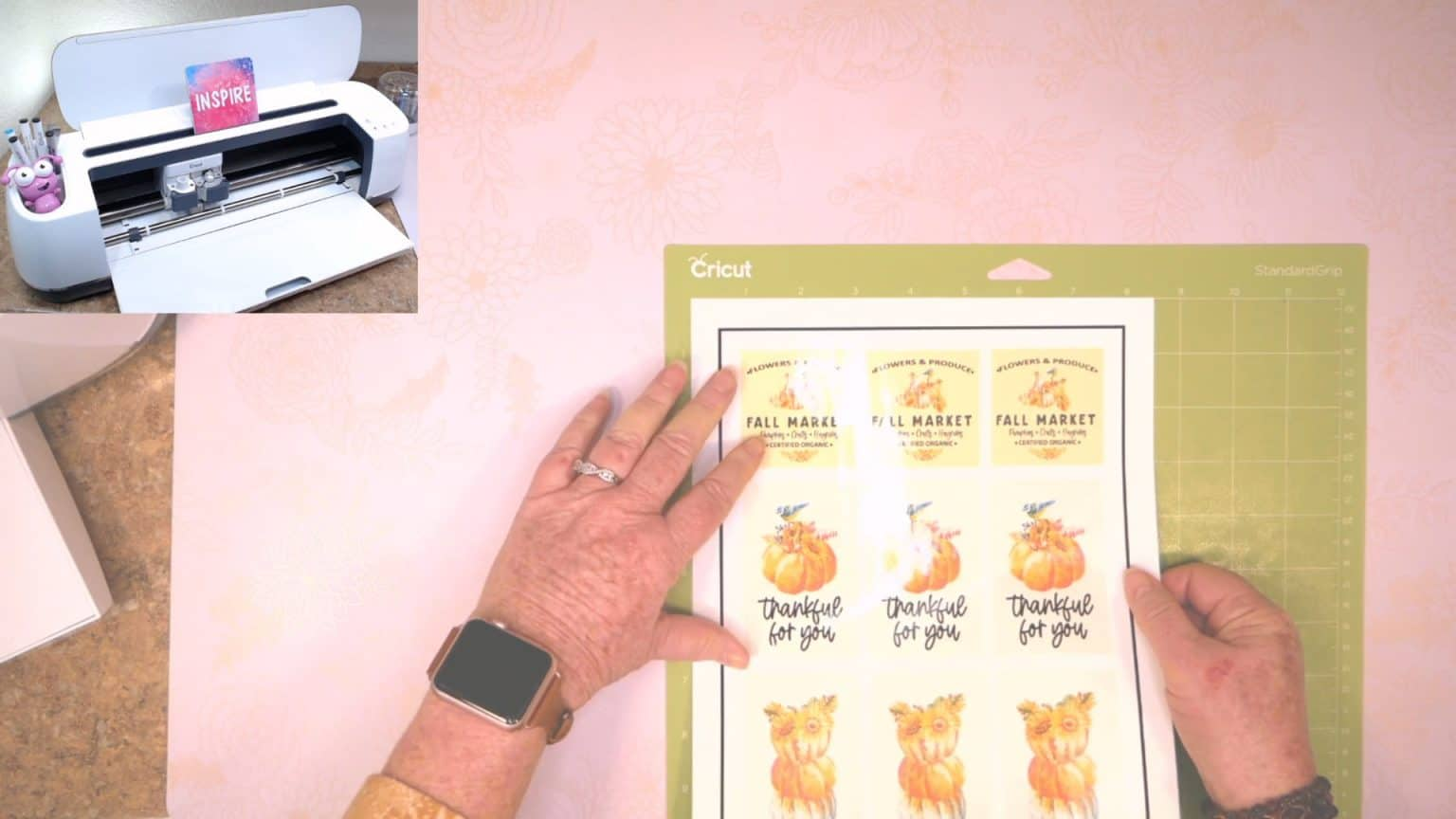 now place the laminated sticker sheet onto your Cricut mat to cut out the stickers