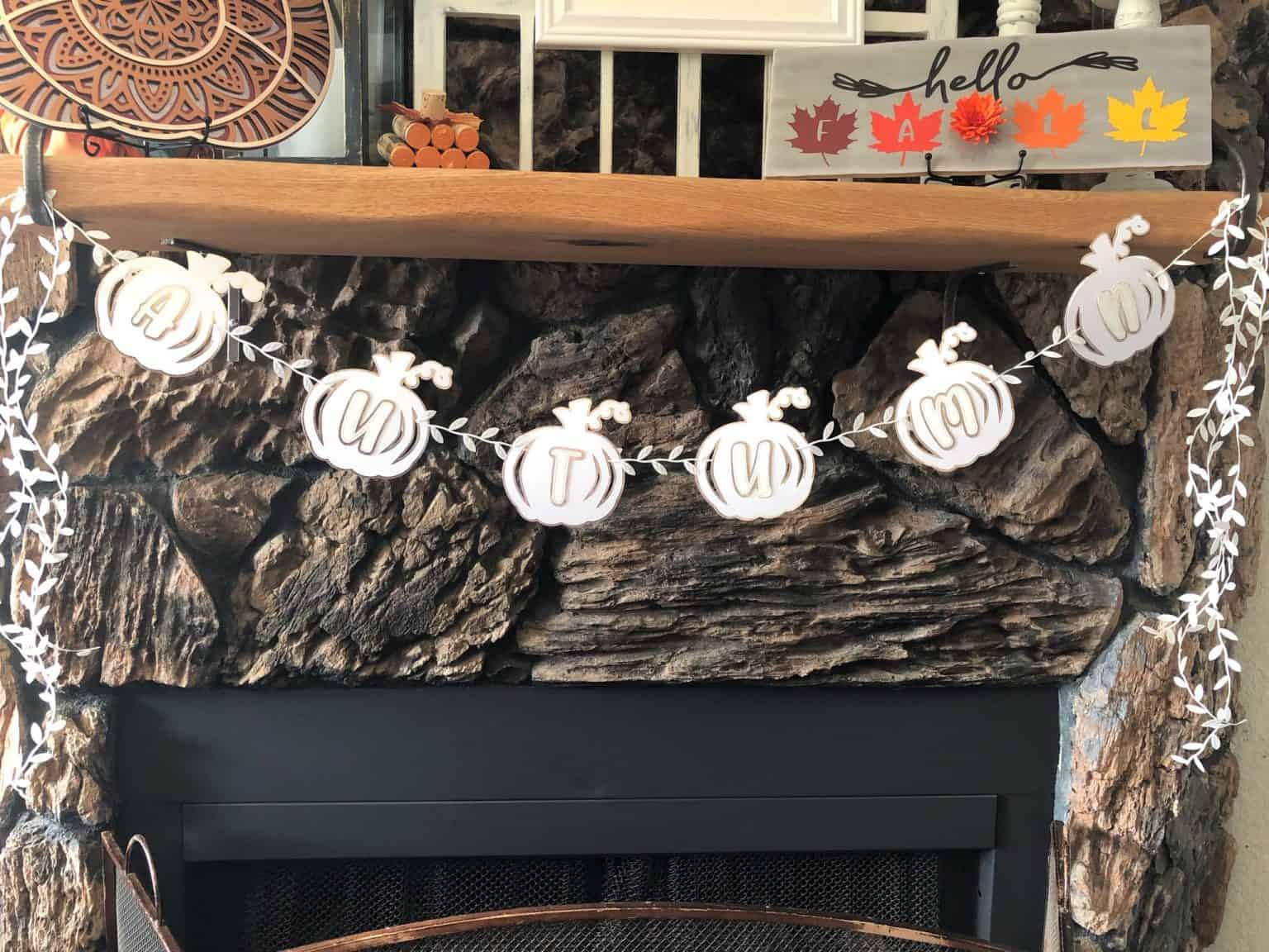 fall mantle showing the Autumn Pumpkin Banner that has offsets and an inset.