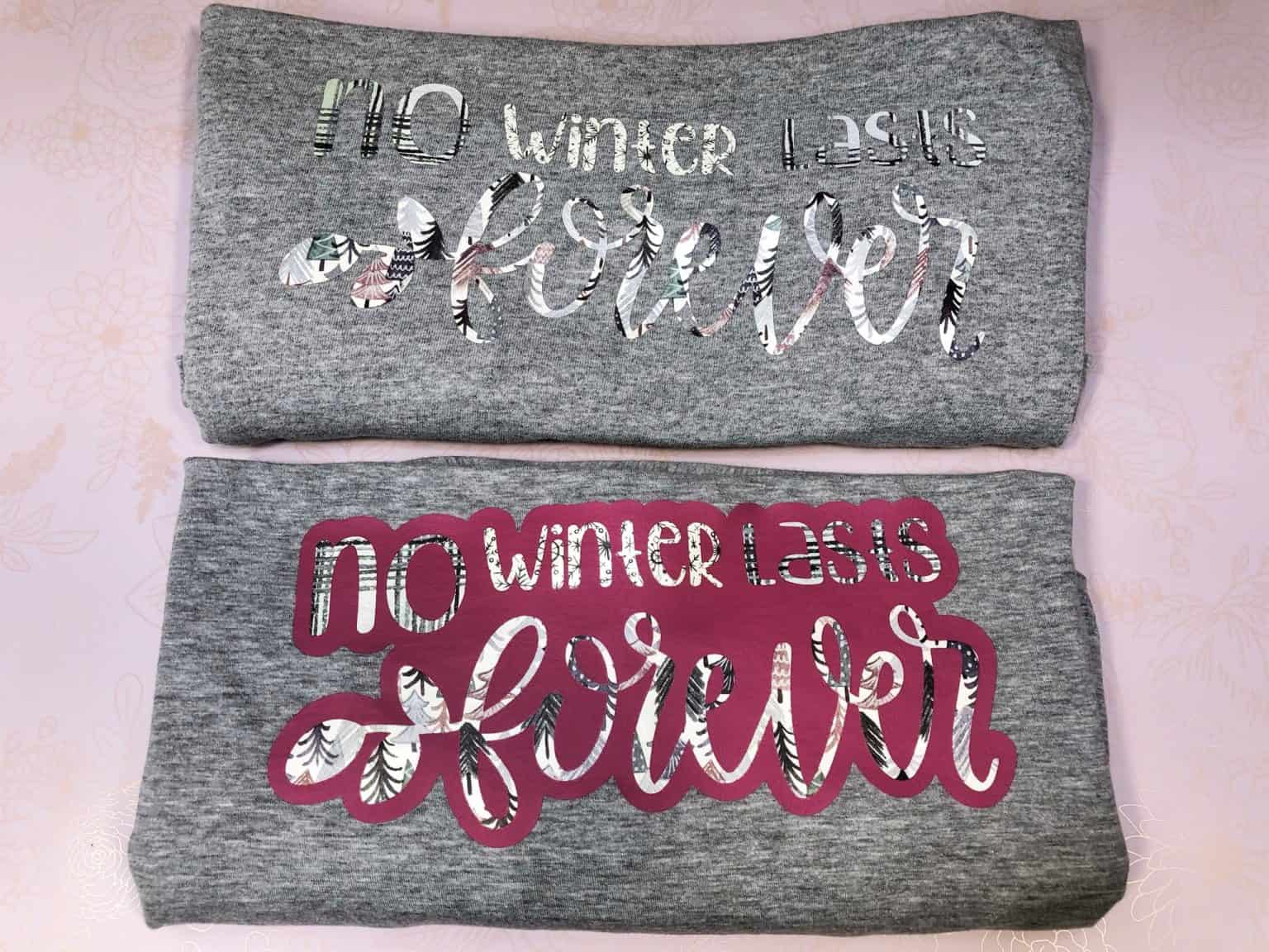 examples of using a Cricut offset with patterned heat transfer vinyl and without a cricut offset too