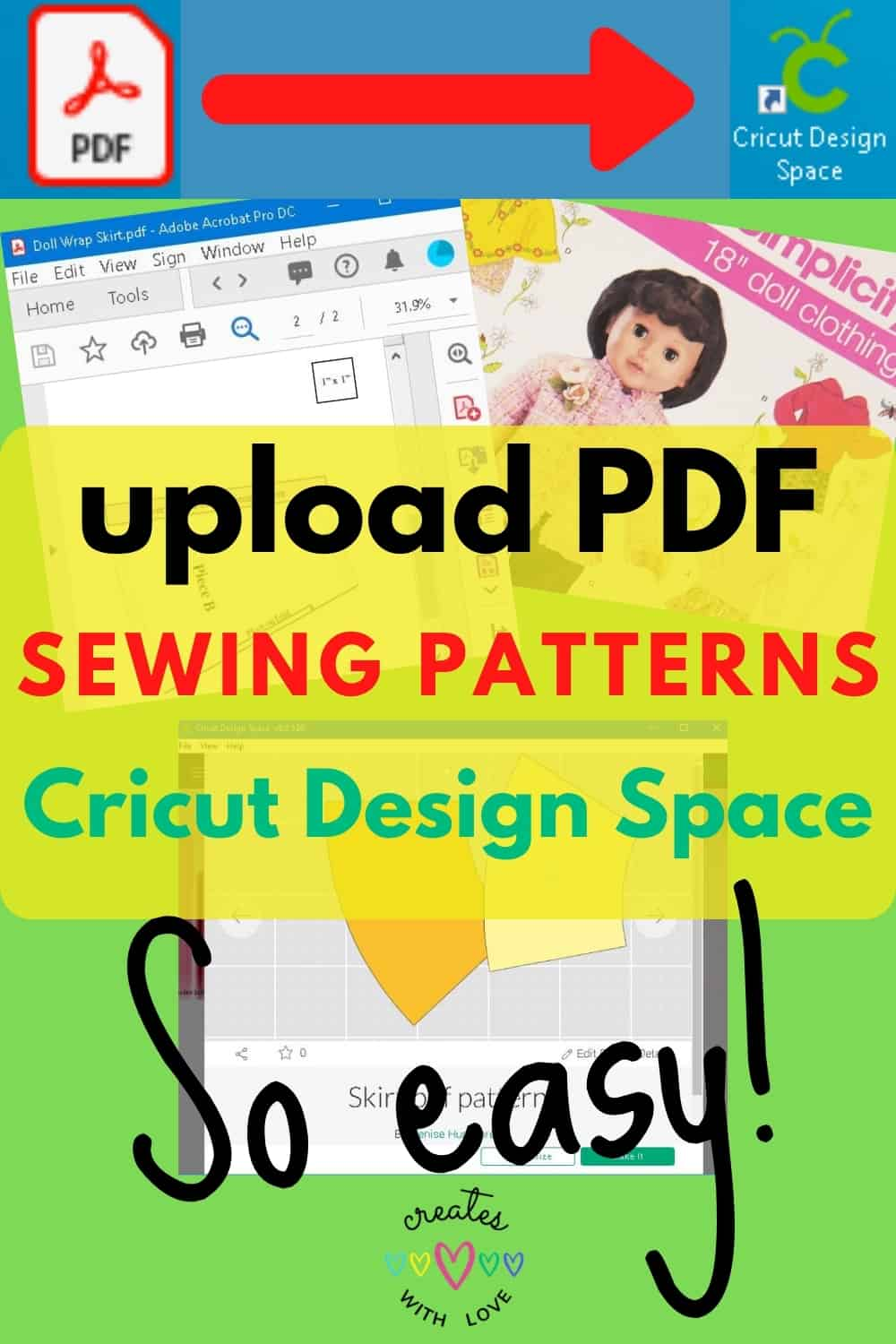 a Pin picture showing how to upload a PDF Sewing Pattern into Cricut Design Space