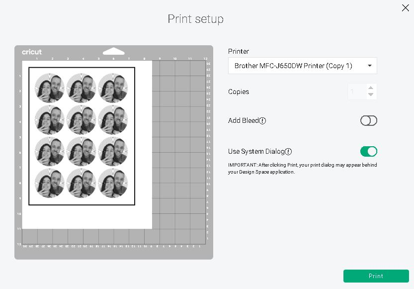 select printer settings for stickers