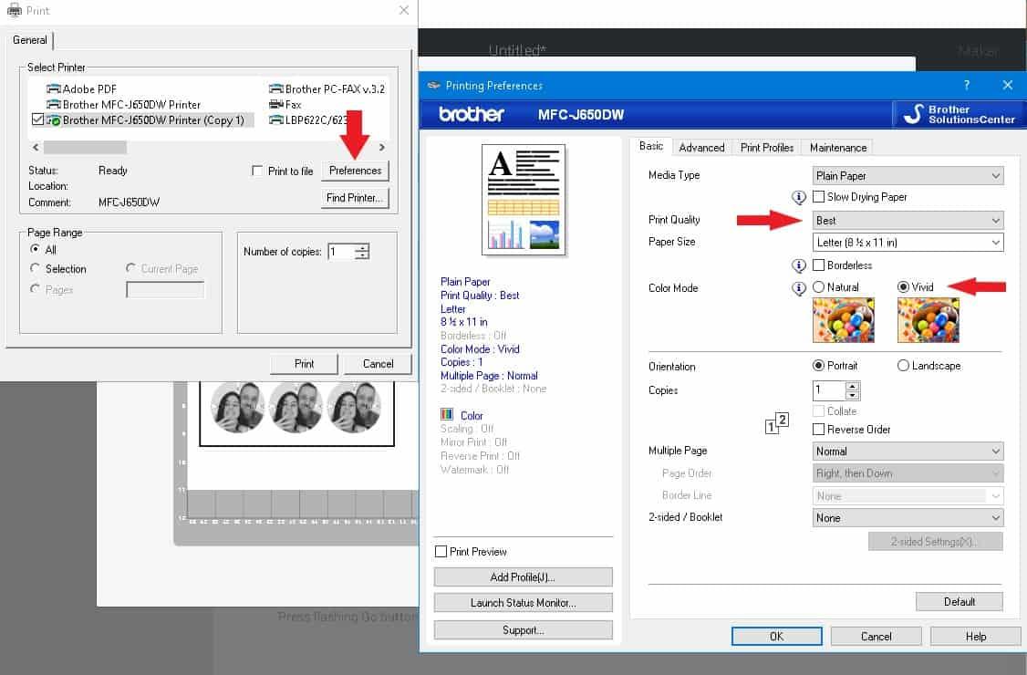 update printer properties