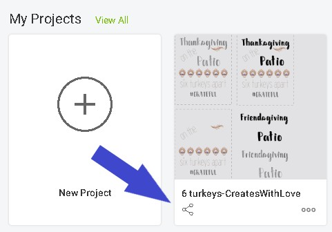 picture of where to click on share icon to share design space projects