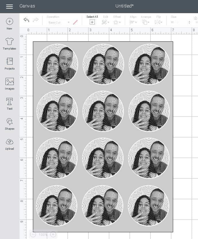 shows a full sticker template in design space