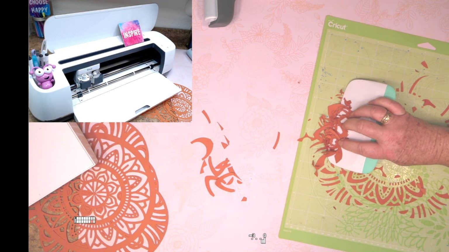 helps to use a cricut brayer to push cardstock weeded pieces of paper off the cricut mat