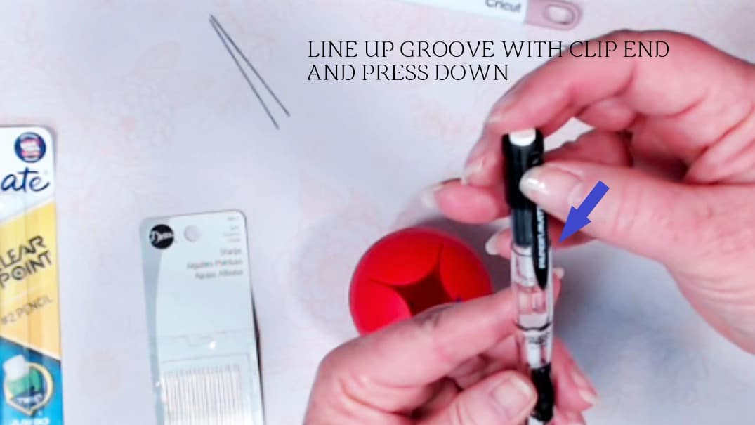 line up groove with clip end and press down