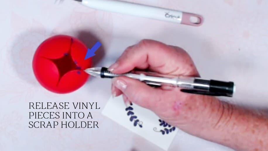release vinyl pieces into a scrap holder