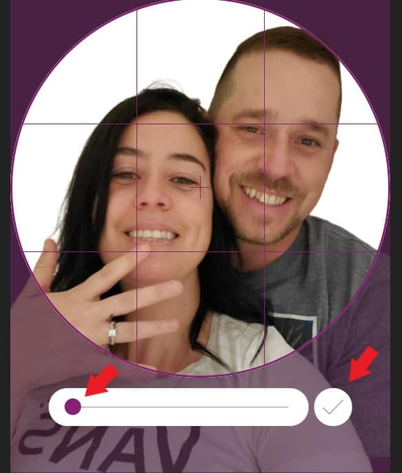use slider to zoom in and out with your photo image